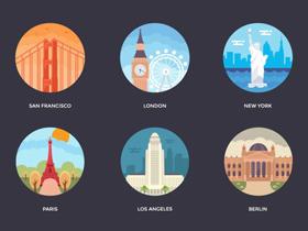 128个世界主要城市矢量插画图形打包下载